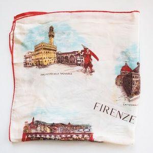 Vintage Italian Firenze Landmark Novelty Scarf